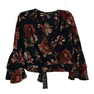 MINETTE Black & Floral Bell Sleeved Blouse!